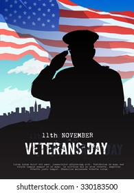 Vector illustration on the theme: veterans day, 11th November, patriotism, holiday, war, peace, happiness, pride, America, USA, parade. Modern flat design.#2