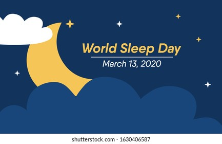 Vector illustration on the theme of World Sleep day observed on March 13th