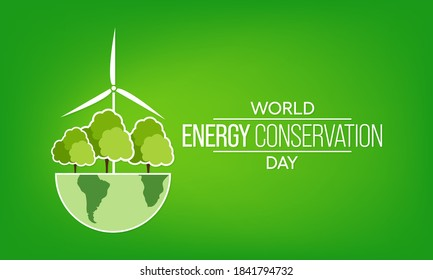 Vector illustration on the theme of World Energy Conservation day observed each year on December 14th across the globe.