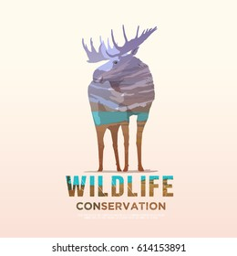 Vector illustration on the themes of wild animals of America, survival in the wild, hunting, camping, trip. Mountain landscape. Moose.