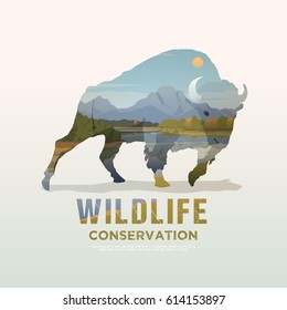 Vector illustration on the themes of wild animals of America, survival in the wild, hunting, camping, trip. Mountain landscape. Buffalo.