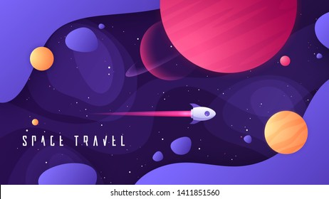 Vector illustration on the topic of outer space, interstellar travels, universe and distant galaxies.