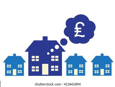 A vector illustration on UK property and home prices.
