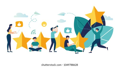 vector illustration on white background. the best estimate of performance, the score of five points. people leave feedback and comments, successful work is the highest score.