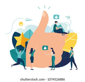 vector illustration on white background. best performance, score five points. people leave reviews and comments that successful work is the highest score, the hand shows the gesture a class