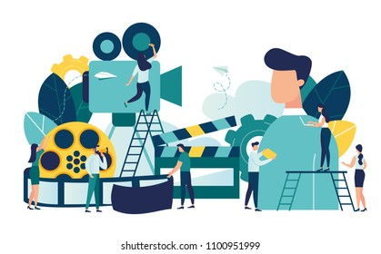 Vector illustration on white background, online cinema, concept of cinematography, little people are shooting a video of a big man