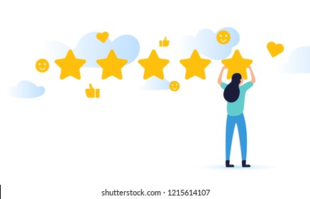 vector illustration on white background. the best estimate of performance, the score of five points. woman or men pointing at one of five stars. successful work is the highest score.