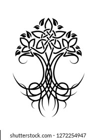 Vector illustration on the white background - a tree with roots and intertwined branches.