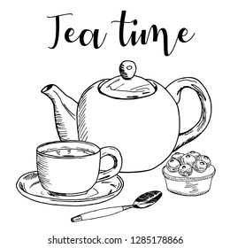 Vector illustration on white background. A Cup of tea and a kettle on the table. Tea time.