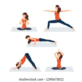 Vector illustration on white background. Set of various yoga asanas. Beautiful young woman in several poses of yoga. A woman in a sporty orange T-shirt and leggings relaxes. Strength exercises