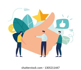 vector illustration on white background. best performance, score five points. people leave reviews and comments that successful work is the highest score, the hand shows the gesture a class - Vector