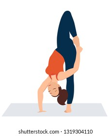 Vector illustration on white background. . Beautiful young woman doing yoga strength exercises. Stretching standing. Pose standing on one arm and one leg