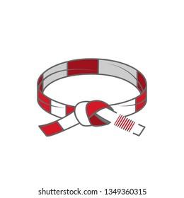 Vector illustration on the white background - BJJ belt.