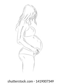 Vector illustration on white background - pregnant woman in sketch style.