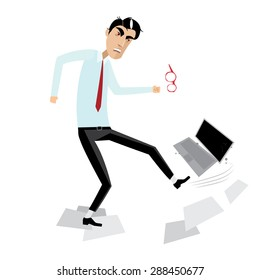 Vector illustration on white background featuring angry businessman breaking laptop