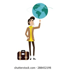 Vector illustration on white background featuring traveler man with bag spinning globe on finger