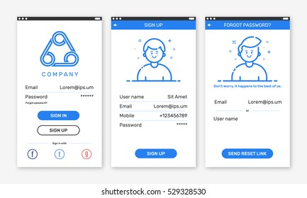 Vector Illustration of onboarding app screens for mobile apps and responsive website including Login, Sign Up, Forgot password. Modern blue interface UX UI GUI screen template for smart phone.
