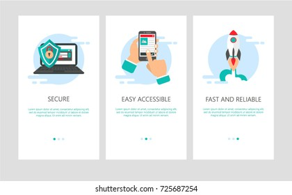 Vector Illustration of onboarding app screens and web concept banking application for mobile apps in flat style. Modern blue interface UX, UI GUI screen template for smart phone or web site banners.