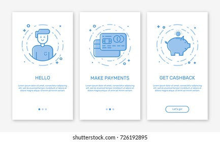 Vector Illustration of onboarding app screens and web concept with welcome, credit cards, money box screen in line style