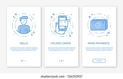 Vector Illustration of onboarding app screens and web concept with welcome, mobile, credit cards in line style.