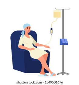 Vector illustration of oncology patient having a chemotherapy. Woman with breast cancer with a dropper getting a chemo. Idea of healthcare, oncology illness and medicine treatment