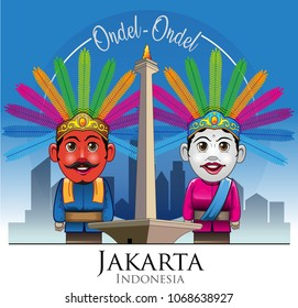 Vector illustration, Ondel-ondel and Monas is mascot or icon of Jakarta city