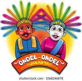 Vector illustration, Ondel-ondel one of the icon or mascot of Jakarta.