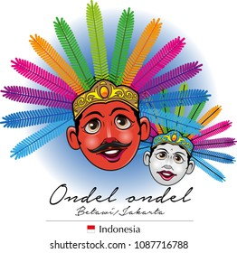Vector illustration, ondel-ondel is one of the mascot or icon Betawi or Jakarta city