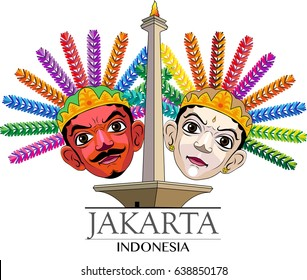 Vector illustration, Ondel-ondel it's a pair of big masks, typical of Jakarta