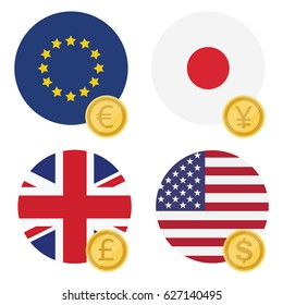 Vector illustration one euro, dollar, pound and yen currency symbol on EU, UK, USA and Japan flag.