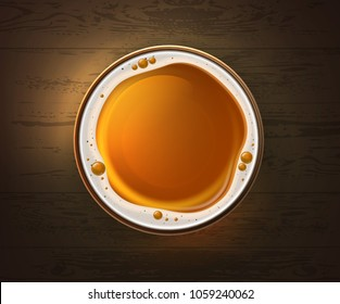 Vector illustration of one glass of light beer on wooden table, top view