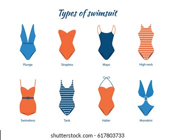 Vector Illustration of one piece swimsuits. Various types of women beach clothes. Modern and retro models.