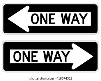"""Vector illustration of a """"one way"""" road/street sign."""