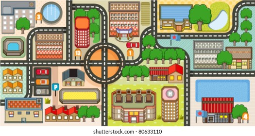 Vector illustration of one-point city map