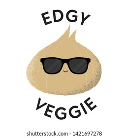 Vector illustration of an onion character wearing sunglasses with the funny pun 'Edgy Veggie'. Cheeky T-Shirt design concept.