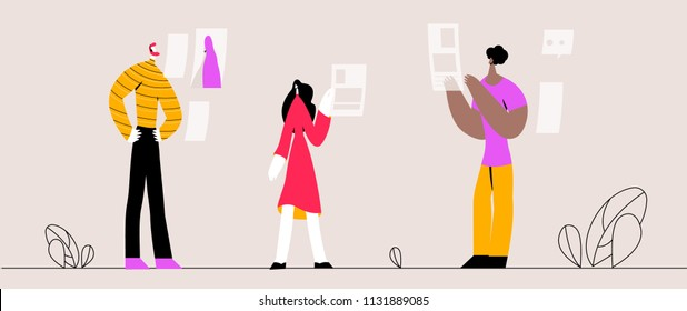 Vector illustration, online assistant at work. Promotion in the network. Manager at remote work, searching for new ideas solutions, working together in the company, brainstorming.