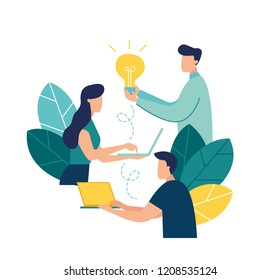 vector illustration, online assistant at work. promotion in the network. manager at remote work, searching for new ideas solutions, working together in the company, brainstorming