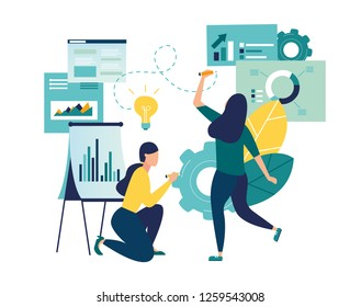 vector illustration, online assistant at work. promotion in the network. manager at remote work, searching for new ideas solutions, working together in the company, brainstorming - Vector