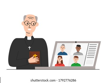 Vector illustration of online church and pastor greeting parishioners isolated. Elderly priest holding holy bible and conducting church services in live. Call conference for praying during quarantine