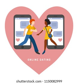 Vector illustration for online dating app users. Flat infographics of man and woman acquaintance in social network. Used for web profiles on smartphones etc.