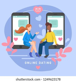 Vector illustration for online dating app users. Flat infographics of man and woman acquaintance in social network. Design of chatting people in smartphones.
