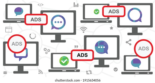 vector illustration of online desk screen web browsing and ads for online promotion cases