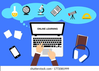 Vector illustration of online learning. Learning activities at home, using the internet for education, and distance learning. Internet technology in the education system.