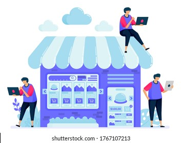 Vector illustration for online marketplace with a shop or stall selling booths. Search and compare items in the marketplace. Can be used for landing page, website, web, mobile apps, posters, flyers