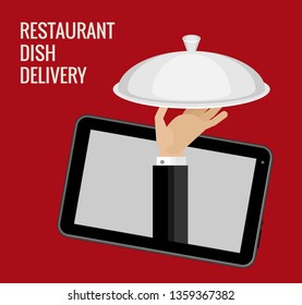 Vector illustration of online ordering and delivery of dishes from the restaurant. Dark red background