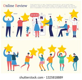 Vector illustration of the online review concept business people in the flat style. Customer review give a five star in bubble box design concept