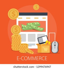 "Vector illustration of online shopping & e commerce concept with ""e-commerce"" online shopping and marketing icon."