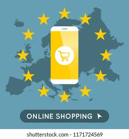 Vector illustration for online shopping in europe with phone and shopping cart symbol. E-commerce illustration.