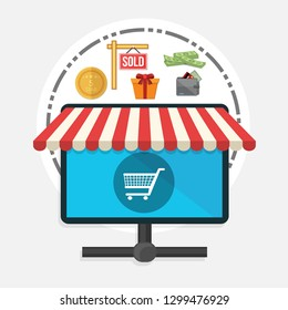 """Vector illustration of online store & online shopping concept """"shopping cart"""" shopping and commerce icon."""
