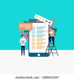 Vector illustration of online survey concept, people fill out survey forms online on the phone. can be used for landing page websites, hompage, banners, leaflets, mobile apps. - Vector